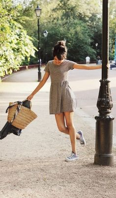 How to Wear Sneakers with a Dress  low cut converse and dress  http://www.beautyfashionfragrance.us/2017/06/12/how-to-wear-sneakers-with-a-dress/