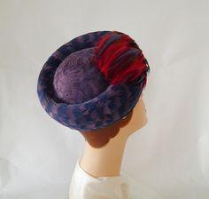 1960s feather hat vintage 60s toque  lavender by TheVintageHatShop, $50.00