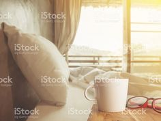 Nice morning bedroom with coffee royalty-free stock photo