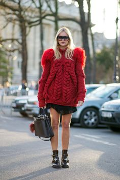 Nina Suess in a red chunky sweater & Balenciaga shoes #StreetStyle