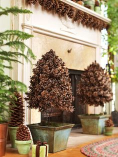 "I love the pinecone ""garland"" hanging under the mantle.something to do with the billions of pine cones in our yard? Noel Christmas, Winter Christmas, Christmas Crafts, Xmas, Christmas Fireplace, Thanksgiving Holiday, Outdoor Christmas, Family Holiday, Winter Holidays"