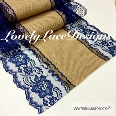 NAVY BLUE Burlap Lace Table Runner/ 5ft-10ft by LovelyLaceDesigns