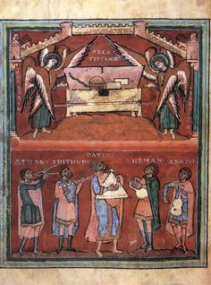 David and four named musicians in front of the Ark of the Covenant // Heidelberg Psalter (folio 44v), Book of Psalms // German, 11th century // Manuscript (Pal. lat. 39.)/ from the Monastery of Saints Michael and Stephen in Heidelberg // Biblioteca Apostolica, Vatican