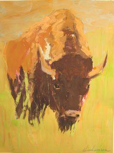 Print of buffalo painting Buffalo Painting, Buffalo Art, Portrait Acrylic, Native American Art, American Bison, West Art, Animal Paintings, Spirit Animal, Pet Portraits