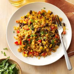 Black Bean & Corn Quinoa Recipe -My daughter's college asked parents for a favorite healthy recipe to use in the dining halls. This quinoa fits the bill. —Lindsay McSweeney, Winchester, Massachusetts