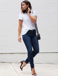 look street style jeans camiseta branca salto