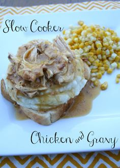 slow cooker chicken and gravy........just chicken, 2 packets of gravy, cream of chicken soup, pepper, and water