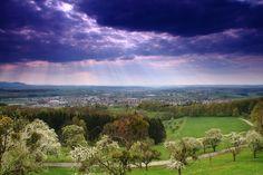 Kreis Göppingen Blick über das Filstal - an der Burg Staufeneck / Salach BaWü von jery