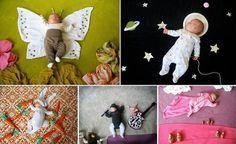 Um die schlafende Babys Accessoires drapieren - und schon hat man ein kreatives #Babyfoto