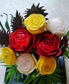 multi-colored beet roses by Smita Jaiswal Watermelon Flower, Watermelon Rind, Radish Flowers, Vegetable Bouquet, Onion Flower, Rose Video, Veggie Platters, How To Peel Tomatoes, Fruit And Vegetable Carving