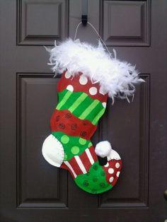 Funky Feather Stocking Burlap Door Hanger $35.00