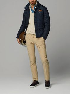 NAVY BLUE QUILTED JACKET - massimo dutti