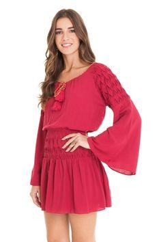 Vestido liso detalhe ombro | Dress to