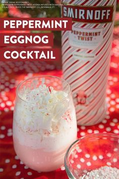 Move over mistletoe. Nothing brings people closer than Smirnoff Peppermint Twist this Holiday season. Treat your holiday bae to our delicious simple and easy Peppermint Eggnog Cocktail. Recipe: oz Smirnoff Peppermint Twist, 3 oz eggnog and top it al Party Drinks, Fun Drinks, Yummy Drinks, Alcoholic Drinks, Beverages, Vodka Drinks, Martinis, Drinks Alcohol, Eggnog Cocktail
