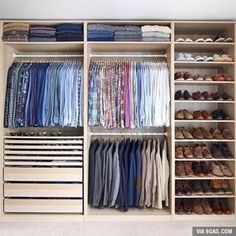 Is your closet overflowing? Here are closet storage ideas to help you gain more control over your closet space. Wardrobe Design Bedroom, Master Bedroom Closet, Bedroom Wardrobe, Wardrobe Closet, Small Wardrobe, Small Closets, Closet Space, Closet Wall, College Wardrobe