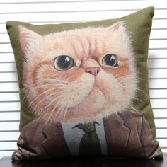 Green decorative pillows for bed Garfield cartoon cat animal prints