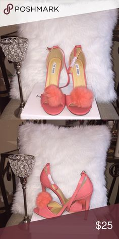 Brand new never worn coral single sole high heels Hey Flyy girls ! These shoes are a must for anyone's wardrobe ! As we all know fur Pom poms are in trend and here to stay! Pair this with a nude body con dress and accessories to match your shoes and you have a sexy chic outfit! Shoes in perfect condition, never been outside of the box! Shoes Heels