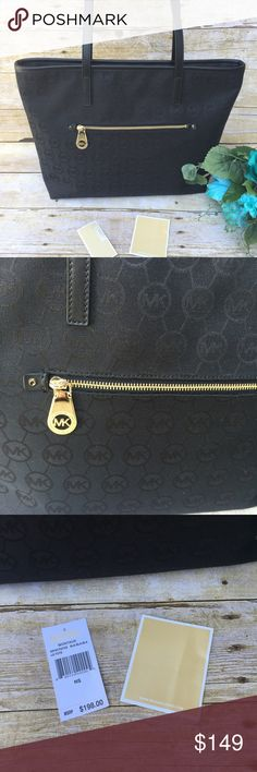 Authentic Michael Kors Black Tote This bag was used once. It is in like new condition. Measures 16x11x4. 10 inch strap drop. Gold hardware with black interior. One exterior zippered pocket. Full zippered top. MICHAEL Michael Kors Bags Totes