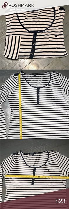 Jones Breton Scoop Pocket Long Sleeve Henley Tee Jones New York Signature Navy Blue And White Breton Horizontal Striped Scoop Neck Long Sleeve Henley Tee Shirt with Small Welt Breast Pocket and Button Epaulettes. Measurements in pictures. 100% Cotton Jones New York Tops Tees - Long Sleeve