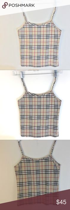 BURBERRY plaid cotton crop tank top 12 14 girls Super cute authentic Burberry Stretch tank top in a size 14. Should fit 12, too Burberry Shirts & Tops Tank Tops