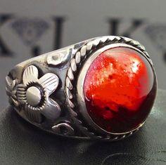 Garnet Mens Ring Sterling Silver 925 January birthstone unique handmade Jewelry #KaraJewels #Filigree