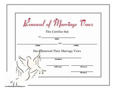 A simple green frame of free printable wedding vows renewal this certificate recognizing the renewal of wedding vows includes a heart studded title and two yadclub Gallery