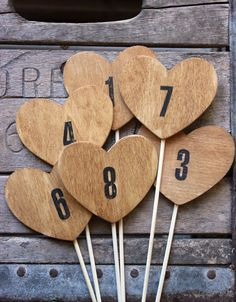 1 wood heart table numbers on a stick . table by MontanaSnow