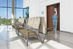 The series includes individual chairs for patient rooms, interlocking configurations for hospital waiting room furniture or other public spaces and specialty items such as hip replacement chairs, bariatric chairs, flexback chairs, and models with mobility casters. #hospitalwaitingroomfurniture