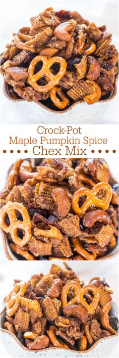 Do NOT make in crockpot! Crock-Pot Maple Pumpkin Spice Chex Mix - Loaded with fall flavors and made in a Crock-Pot! Wayyy too easy and totally irresistible! Pumpkin Recipes, Fall Recipes, Holiday Recipes, Pumpkin Spice Chex Mix Recipe, Pumpkin Pumpkin, Holiday Appetizers, Chex Mix Recipes, Snack Recipes, Crockpot