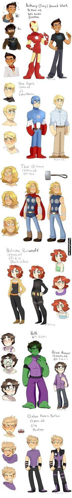 Marvel universe characters as Teenagers #comics #avengers