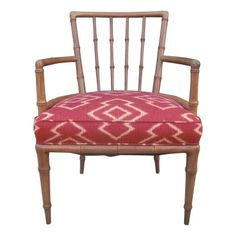 Faux Bamboo Armchair with Andrew Martin Upholstery - $900 Est. Retail - $549 on Chairish.com