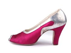 1930s Quilted fuchsia satin pumps with open toes and and silver leather applique.