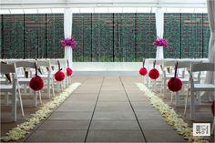 Wedding ceremony hotel Alden in Houston.  Minus hanging pomanders & larger urn arrangements to match wedding