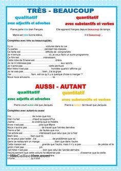Adjectifs - Adverbs - TRÈS - BEAUCOUP - AUSSI - AUTANT