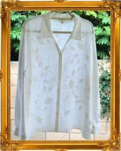 J. Jill 100% Linen White Embroidered Lagenlook Asymmetrical Tunic Shirt Top XL #JJill #Tunic