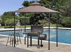 LED Outdoor Grill Gazebo BBQ Canopy Shelter Backyard Patio Garden Pool Sun Shade #SunjoyHacienda
