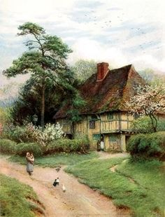 Hollingbourne Kent ~ Old English Country Cottages 1906 ~ Helen Allingham ~ (Engl. - Hollingbourne Kent ~ Old English Country Cottages 1906 ~ Helen Allingham ~ (English English Country Cottages, Country Cottage Garden, English Countryside, Cottage Style, Country Decor, Country Houses, French Country, Watercolor Landscape, Landscape Art