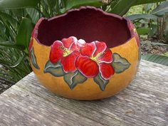 painted gourd bowl - NatsKreations Decorative Gourds, Painted Gourds, Flower Bowl, Afro Art, Pottery Designs, Gourd Art, Hibiscus Flowers, Woodburning, Garden Planters