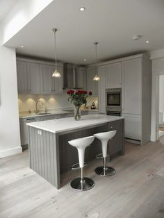Planet Furniture: Beautiful Storm Grey Shaker Kitchen. Farrow and Ball Mole's Breath on the island and Pavilion Grey on the cupboards. Not enough contrast?