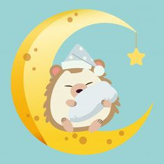 The character of cute hedgehog sitting on the half moon with a little star. the cute hedgehog sleeping and hugging a pillow and wear a hat on the moon. the character of cute hedgehog in flat vector. Hedgehog Illustration, Cute Illustration, Bird Barn, Barn Owls, Silhouette Cameo Free, Hug Pillow, Funny Phone Wallpaper, Cute Hedgehog, Good Night Image