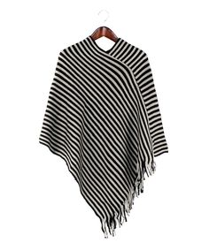 Look at this Black Stripe Fringe Poncho on #zulily today!