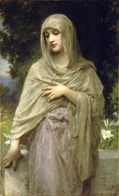 Modesty (Modestie) by William Adolphe Bouguereau. Museum Quality Oil Painting Reproductions On Canvas. William Adolphe Bouguereau, Paintings I Love, Beautiful Paintings, Portrait Photos, Munier, Pre Raphaelite, Oil Painting Reproductions, Fine Art, Oeuvre D'art