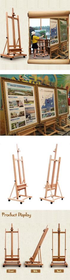 Easels 41204: Portable Artist Durable Wooden Easel 360 H-Frame W Caster Painters Drawing Board -> BUY IT NOW ONLY: $71.99 on eBay!