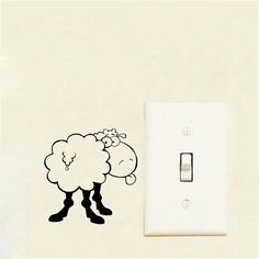 [Visit to Buy]  Funny Sheep Switch Sticker Cute Farm Animal Home Decoration Wall Stickers For Kids Rooms 2WS0337 #Advertisement