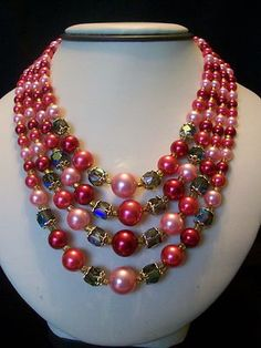 Fabulous Multi Strand Glass Bead Faux Pearl Vintage 1960s Japan Collar Necklace | eBay