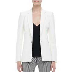 Theyskens' theory white blazer size 8 Fassica style in Jlender tech suiting. Notched collar; zip back. Long sleeves. Front single-snap closure; front flap pockets. Hem falls to hips. Polyester/spandex; dry clean only. Made in USA of Italian materials. Theysken's Theory Jackets & Coats Blazers