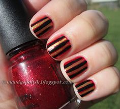 Pirate Nails:  China Glaze Ruby Pumps with Kleancolor Metallic Yellow and L.A. Colors Black Striper
