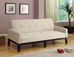 Click Clack Sofa Bed by Coaster Condo Furniture, Furniture Styles, Furniture Design, Spare Bedroom Office, Spare Room, Dorm Room, Futon Sofa Bed, Sofa Sofa, Tufted Sofa