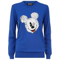 Markus Lupfer Vintage Mickey Mouse Sequin Sweater (€385) ❤ liked on Polyvore featuring tops, sweaters, mickey mouse sweater, blue sweater, sequin embellished top, embellished sweater and blue sequin top