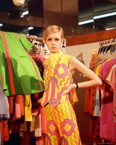 Model Twiggy in the Biba boutique